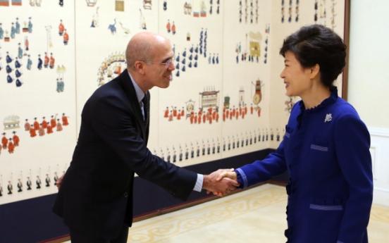 Park discusses politics with US filmmaker Katzenberg