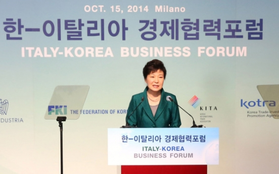 Park calls for bigger biz partnership with Italy