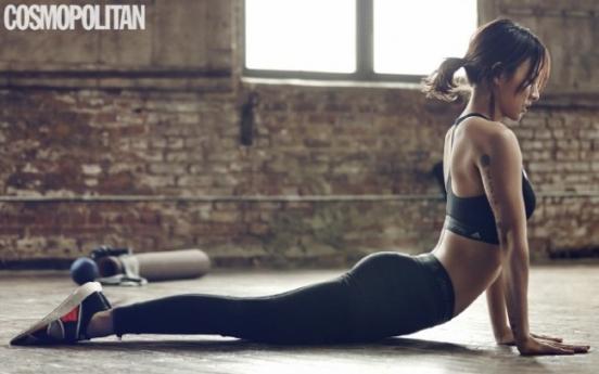 Lee Hyo-ri breaks a sweat in yoga poses for Cosmopolitan