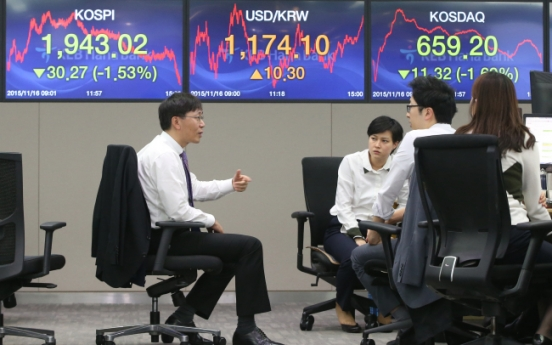 Korean stocks hit 50-day low after terror attacks