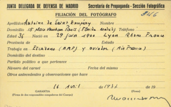 Saint-Exupery's Spanish civil war press pass found
