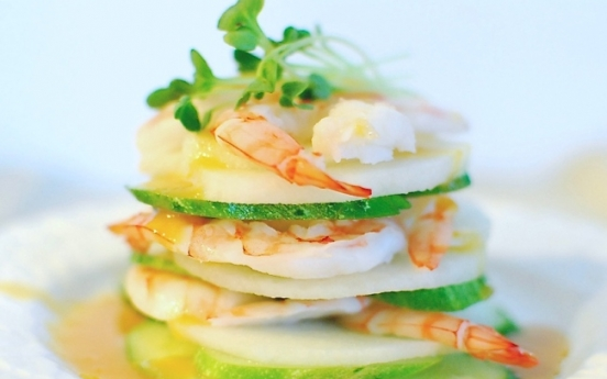 [Home Cooking] Saewu Naengchae (Shrimp Salad with Hot Mustard Dressing)