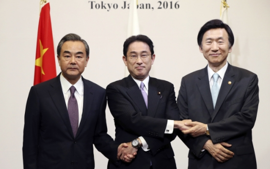 Top diplomats from Japan, China, S. Korea start meeting