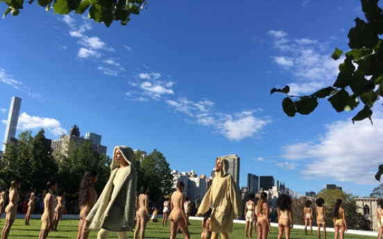 Kanye West unveils body suits in NY presidential park