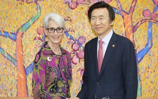 Foreign Minister Yun holds talks with Clinton camp's diplomacy advisor Sherman