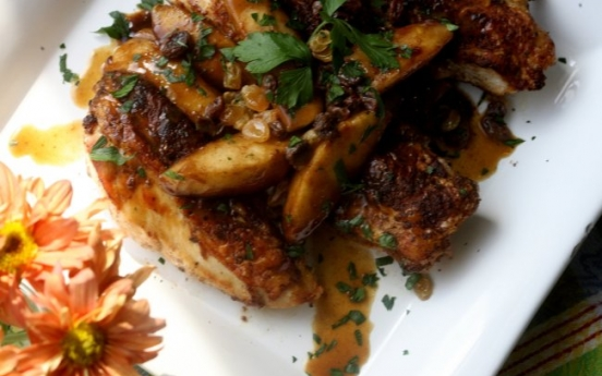 Chicken with cider and caramelized apples