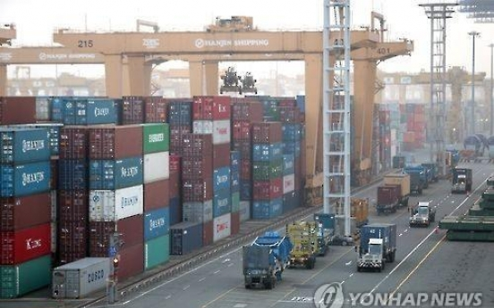 Korea's exports sink 5.9% in 2016