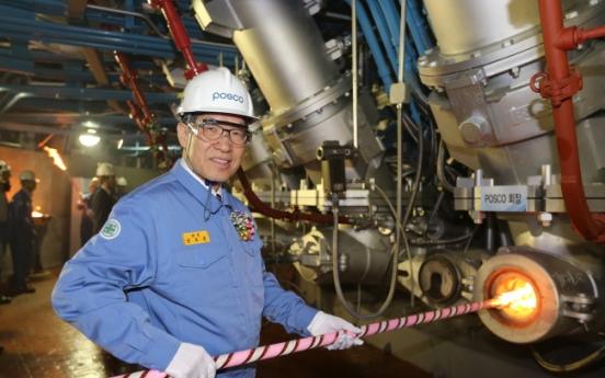 Posco fires up expanded blast furnace
