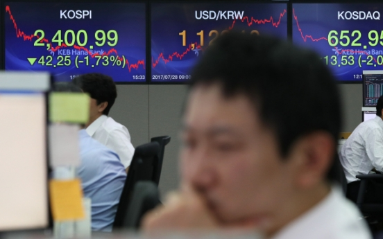 Kospi slides to largest daily loss in over year on foreign selling spree
