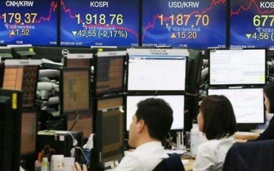 S. Korean stocks down late Monday morning on NK threat