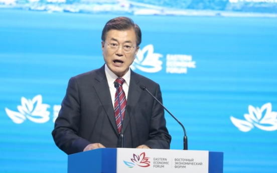 Moon proposes expanding economic cooperation with Russia, building Northeast Asian energy links