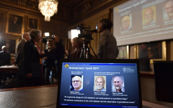 US trio wins physics Nobel for detection of waves from black hole collisions