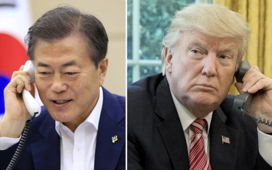 [US-NK Summit] US-NK summit success will be 'great gift' for Trump's birthday: Moon