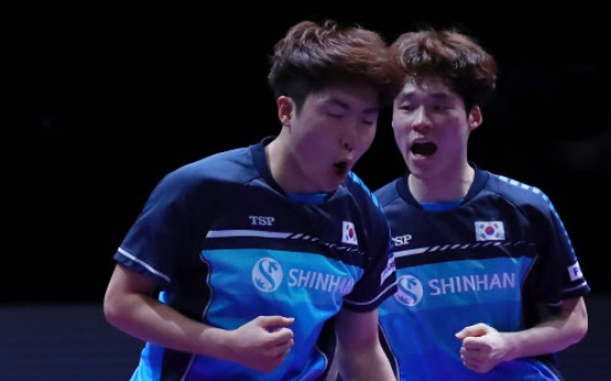 S. Korean men's doubles ping pong team wins int'l title at home