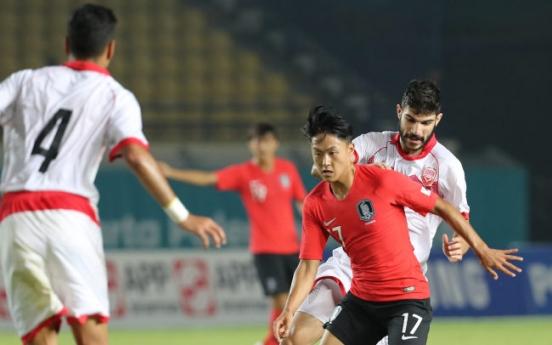Korea beat Bahrain 6-0 to start men's football competition