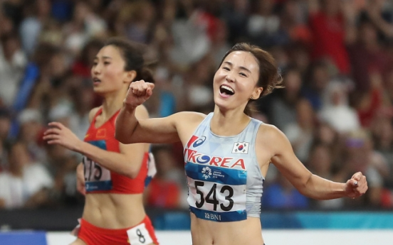 Korea's Jung Hye-lim wins gold in women's 100m hurdles