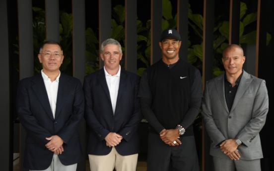 [Photo News] Chung Eui-sun meets Tiger Woods at Genesis Open