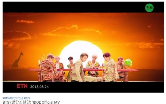 BTS' 'Idol' video tops 400 mln YouTube views