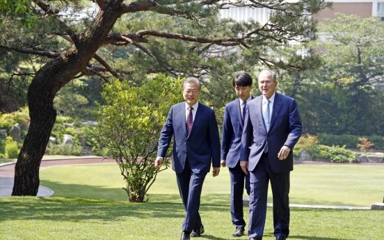 Moon lauds Bush's visit as strong Korea-US alliance