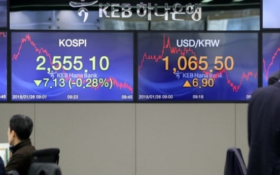 Korean stocks up late Monday morning
