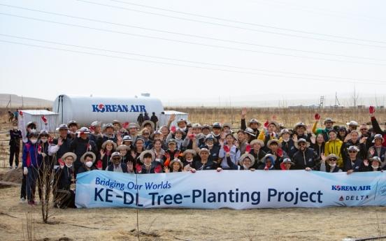 Korean Air plants trees in Mongolian desert