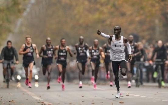 킵초게, 인류 최초로 마라톤 2시간 벽 돌파…1시간59분40초