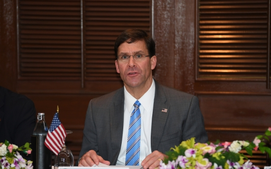 Esper: Unaware of any plans to withdraw troops from S. Korea