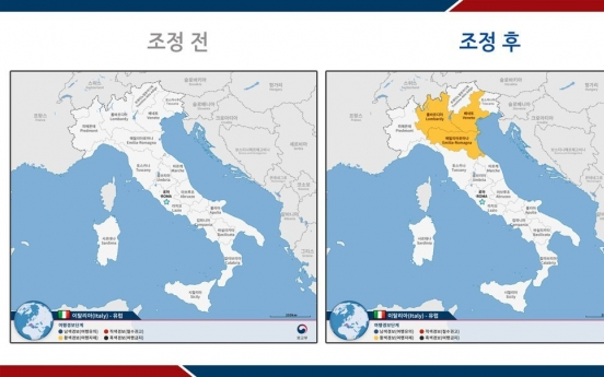 S. Korea raises travel advisory for northern Italy