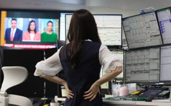 Korean stocks sharply down late Monday morning