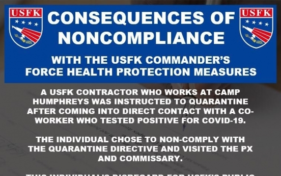 USFK contractor barred from access to bases for 2 years for quarantine violations