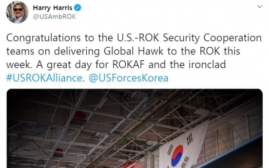 US amb. tweets on delivery of Global Hawk unmanned aircraft to S. Korea