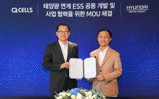 Hyundai Motor, Hanwha Q Cells sign MOU on old EV batteries for ESS