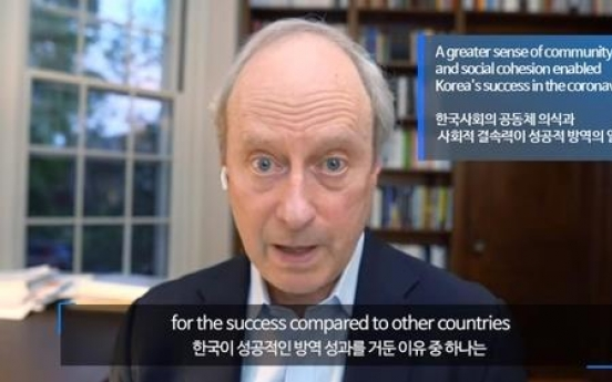 US scholar cites S. Korea's 'sense of community, social cohesion' as reason for successful virus response