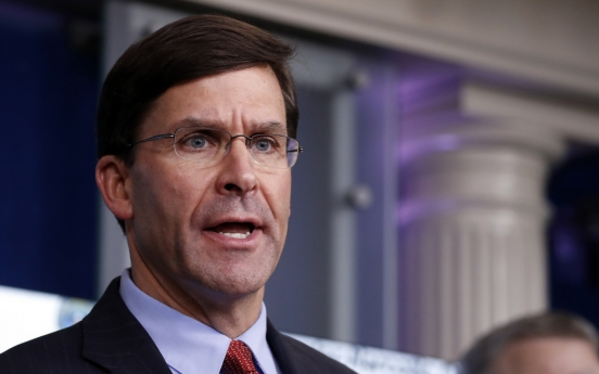 Esper lists S. Korea among partners standing up to China