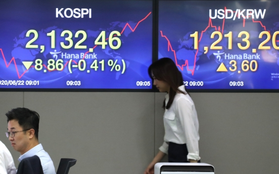 Seoul stocks open lower on increasing COVID-19 cases