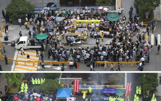 [From the Scene] Tension around comfort women statue as rival group takes over rally site