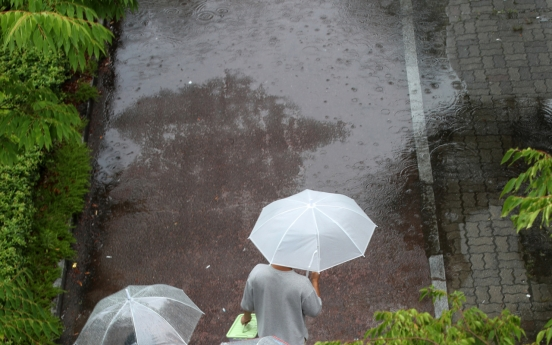 Heavy rain, strong winds hit S. Korea