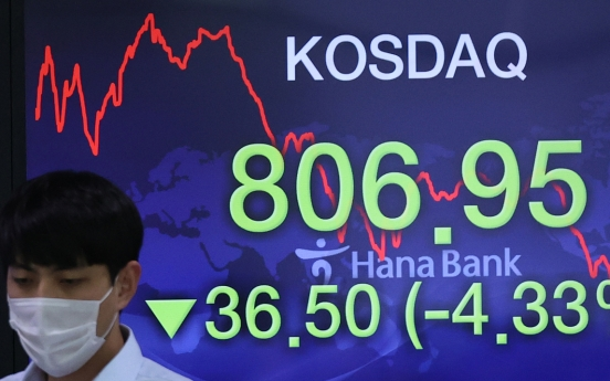 Seoul stocks tumble to over 1-month low on withering global