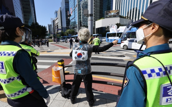 Banned from mass rallies, protesters  hold 'press conferences' on Hangeul Day