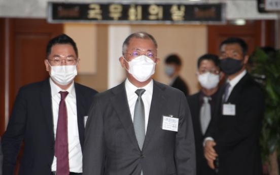 Hyundai chairman's first stop: Hydrogen economy