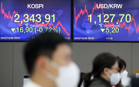 Seoul stocks sink on renewed virus concern, Korean won at 19-month high