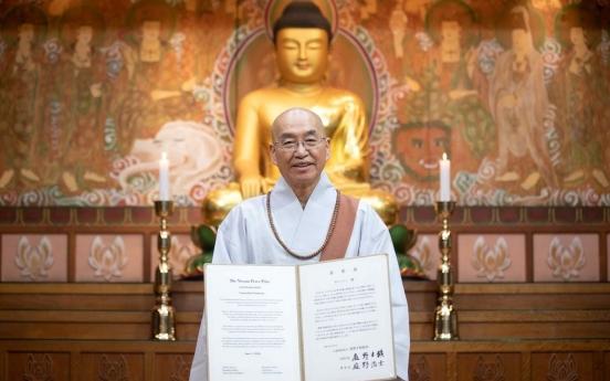 S. Korean monk receives Niwano Peace Prize, donates prize money