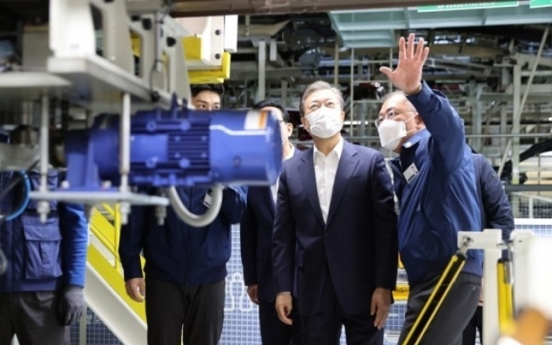 President Moon pledges W20tr investment in future mobility, tours Hyundai's Ulsan plant