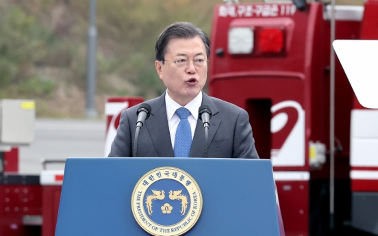 Moon honors heroes, vows efforts for safer nation on Firefighters' Day