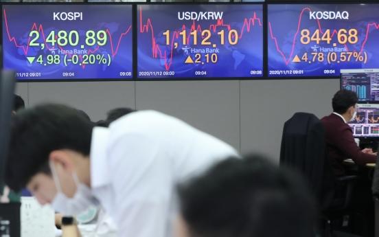 Seoul stocks open lower on profit-taking, lockdown concerns