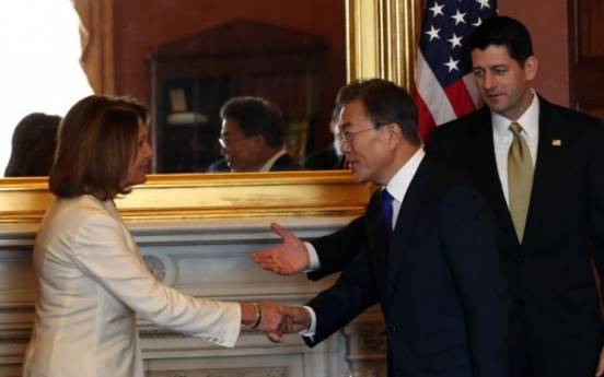 Moon congratulates US congressional leaders, asks for alliance