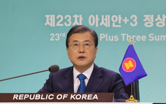 Moon joins ASEAN summit with Japanese, Chinese leaders, urges closer ties for post-coronavirus economy