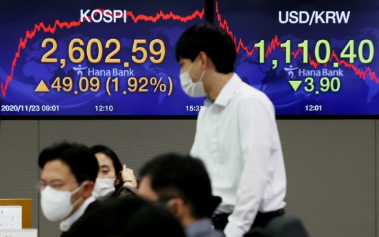 Seoul stocks near all-time high on foreigners' buying spree