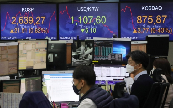 Seoul stocks open higher on Dow's record gain, vaccine hopes