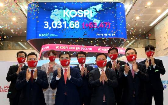 Kospi closes at fresh record high above 3,000